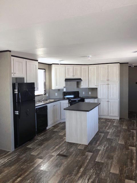 This Bright Farmhouse Look Home Features Include Barn Wood Lino, Sand  Blasted White Duracraft Cabinets, New Barn Wood Plank ...